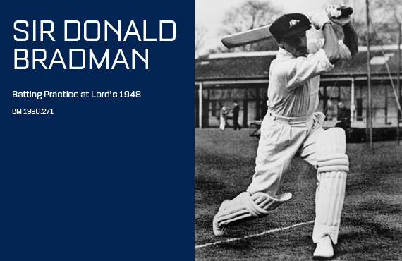 Don Bradman during batting practice at Lords 1948