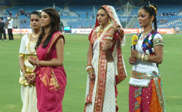 Local Pune cheerleaders in traditional dress at DY Patel Stadium, Mumbai