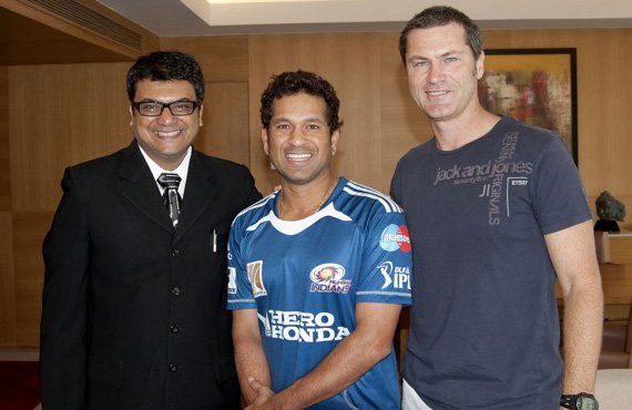 Sachin Tendulkar and Simon Taufel