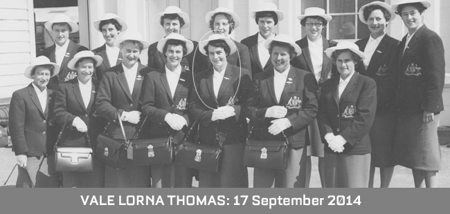 Vale Lorna Thomas MBE – 17 September 2014
